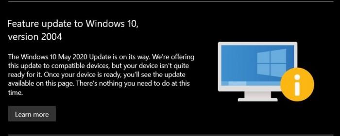 [图]提高透明度:微软向无法升级Windows 10 May 2020用户发送提醒通知